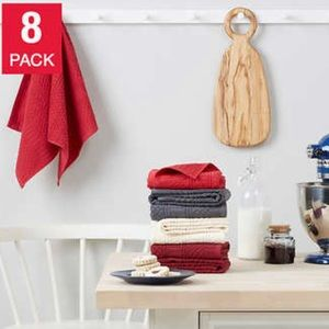 KitchenAid Antimicrobial Kitchen Towels, 8-pack Red Gray Cream Maroon NEW